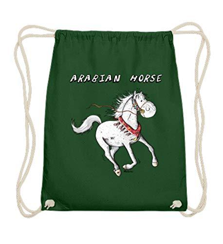Shirtee divertido caballo árabe Comic I Caballos árabes Cartoon I sangre completa – Algodón Gymsac – 37 cm de 46 cm de color verde oscuro