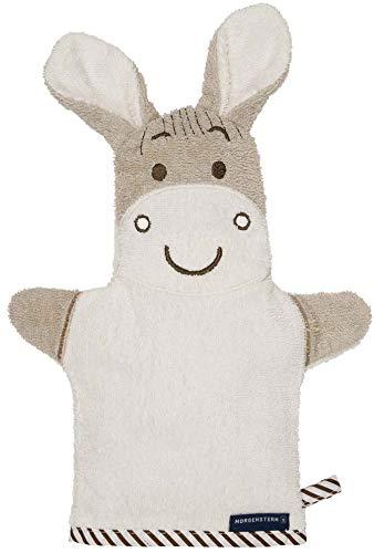 Morgenstern Babywaschhandschuh Handpuppe Baumwolle mit Tiermotiv Esel in Beige