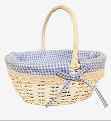 Newborn Baby BOY Gift Basket/Baby Hamper/Baby Shower White Wicker Gift Basket - Blue/White Gingham Lined - 30 cm