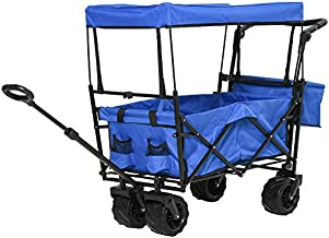 DURHAND Collapsible Folding Utility Garden Cart Wagon with Adjustable Push/Pull Handle, Canopy & All-Terrain Wheels, Blue