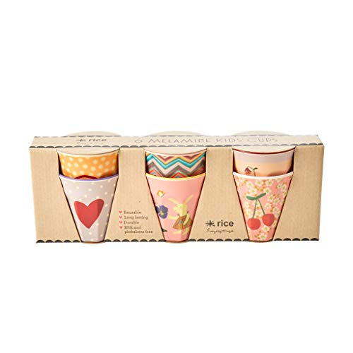 Rice Becher Kinder-Trinkbecher, 6er Set in Geschenkbox, Muster Pink Rosa Hase Rabbit Print