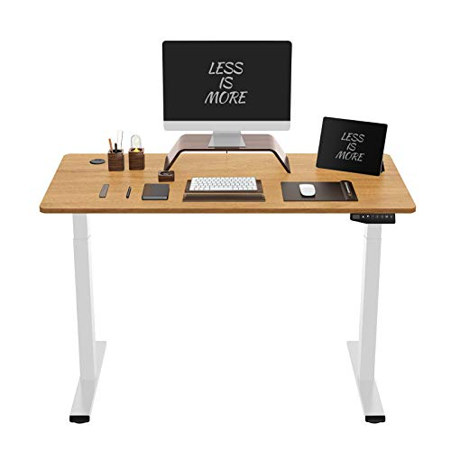 Flexispot ED2 Elektrisch Höhenverstellbarer Schreibtisch mit Tischplatte. Mit Memory-Steuerung und Softstart/-Stop& integriertes Anti-Kollisionssystem. (Ahorn+Weiß, 140 x 70 cm)