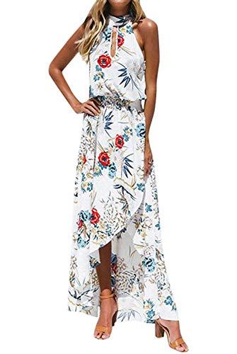 LATH.PIN - Vestido de playa de verano para mujer, diseño floral con hombros descubiertos y abertura frontal, vestido bohemio largo para fiesta, ceremonia