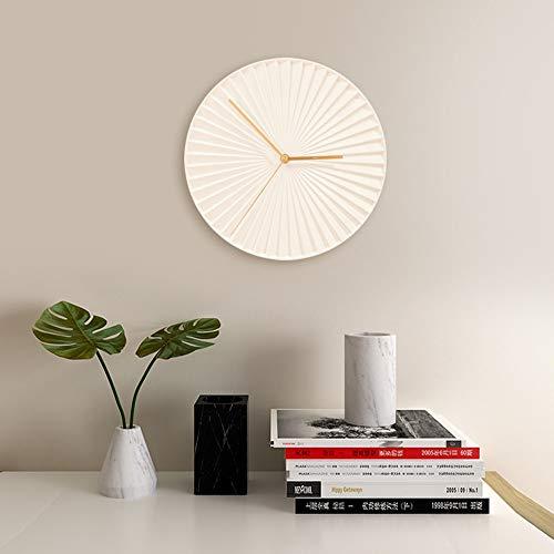Bradoner Reloj de pared de estilo escandinavo para sala de estar, creativo, decoración del hogar, moderno y minimalista, reloj de pared decorativo, blanco, 30 x 30 cm