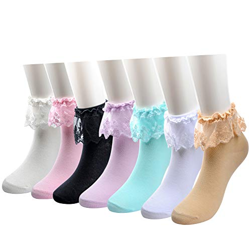 MarJunSep Women Girls Lace Ruffle Frilly Ankle Crew Socks Cotton Knit Vintage 50s 7 Pairs