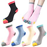 5 Pairs Womens Five Finger Toe Socks for Women Girls Cotton, Ladies Casual Low Cut Ankle Socks Soft & Breathable Size 5-9 -  MOAMUN
