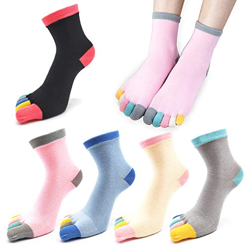 REKYO 5 Paar Damen fünf Finger Zehen-Socken für Frauen Mädchen Baumwolle, Damen Casual Low Cut Ankle Socks weich und atmungsaktiv Größe 35-42 (Farbe)