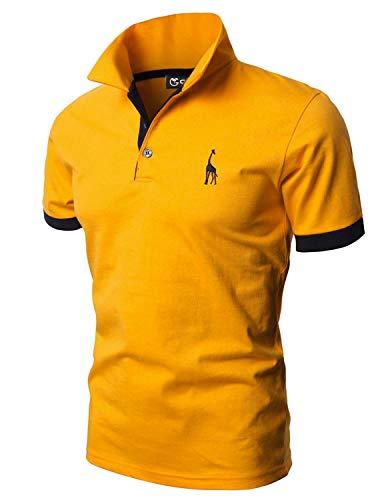 GHYUGR Polos Manga Corta Hombre Bordado de Ciervo Camisas Slim Fit Camiseta Deporte Golf Poloshirt Verano Primavera T-Shirt Oficina,Amarillo,L