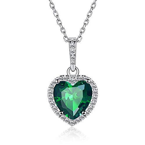 Mayo Corazón Cristales de Nacimiento Collar para Muchachas Mujeres Pl
