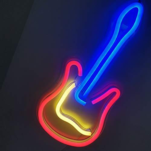 Ulalaza Letrero de luz de neón LED Guitarra Luces nocturnas Operado por USB Letrero Decorativo de marquesina Bar Pub Store Club Garage Decoración de Fiesta en casa