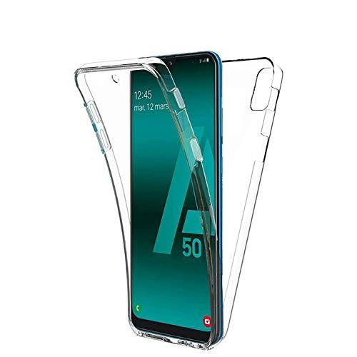 COPHONE Funda compatible con Samsung Galaxy A50 , Transparente Silicona 360°Full Body Fundas para Samsung A50 Carcasa Silicona Funda Case.