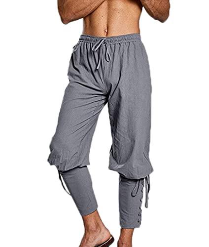 Pantalones Vintage Medievales para Hombre Pantalones de Lino con Bandas en el Tobillo para Hombre Traje de pantalón gótico renacentista