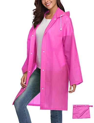 Raincoat Durable EVA Rain Cape Women Rain Poncho with Hat Hood Outdoor Travel L