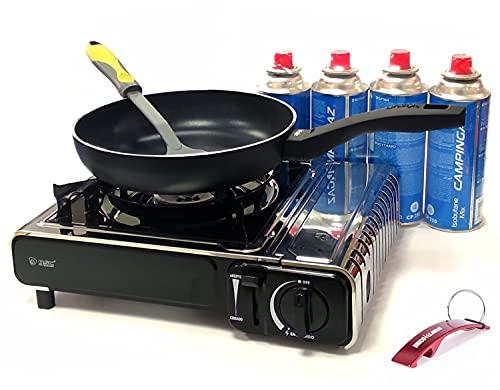 Hornillo para Acampada Outdoor Portátil con Destapador Bricolemar de Regalo (Hornillo + Cartuchos + Sartén 22 + Espátula)