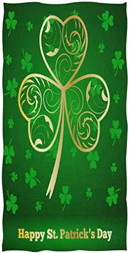 OMAJIG Happy Saint Patrick's Day hermosas toallas de mano de trébol con impresión suave absorbente para invitados, para baño, hotel, gimnasio y spa (15 x 76 cm), color verde