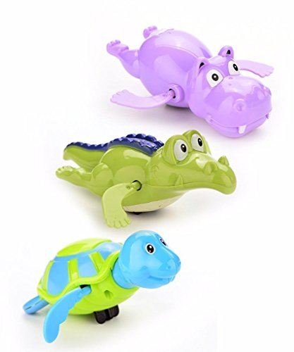 pizies Aufziehtiere für die Badewanne, Badespielzeug für Kinder, 3er-Set, zufällige Farben