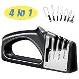 LTLAMB Afilador de Cuchillos Profesional, 4 en 1 Manual Cocina Afilador Cuchillos,Base de Acero Inoxidable Antideslizante para Knife de Cocina, Apto para Uso en Cocina y Exterior (Negro)