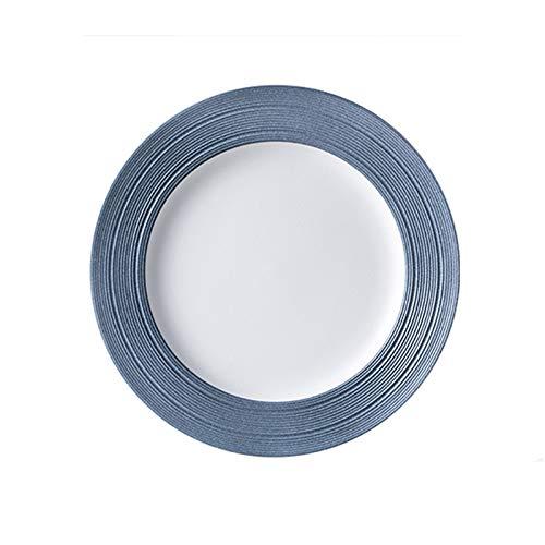 hongbanlemp Platos de cena de porcelana grandes, plato de servir de 25,4 cm, postre redondo, pasta, plato de ensalada, blanco con ribete azul, 3 unidades