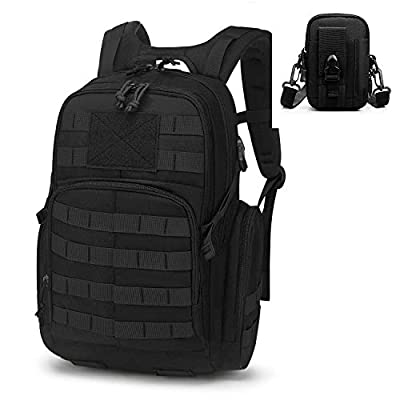 Mardingtop 25L Tactical Backpacks Molle Hiking daypacks for Motorcycle Camping Hiking Military Traveling (25L-Black-Set)