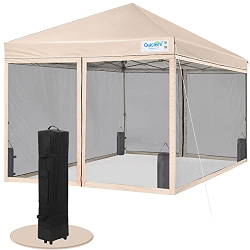 Quictent 8×8 Ft Easy Pop up Canopy with Netting Screen House Tent Instant Set up, Roller Bag & 4 Sand Bags Included (Tan)