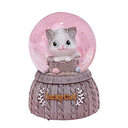 Caja de música Lucky Cat Hecha de Punto Bola de Cristal Base de Resina Figurine Decoración del hogar Accesorios Adornos de Gato Caja de música Decoración de la Boda Regalo Decorar (Color : White)