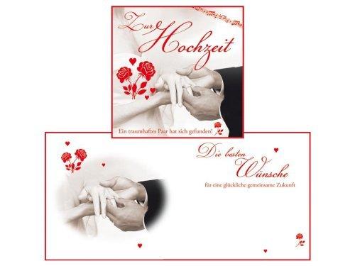 Perleberg 204430-1 LP-Format Karte Melodies mit Sound, Hochzeit, 31 cm x 31 cm, weiß/rot