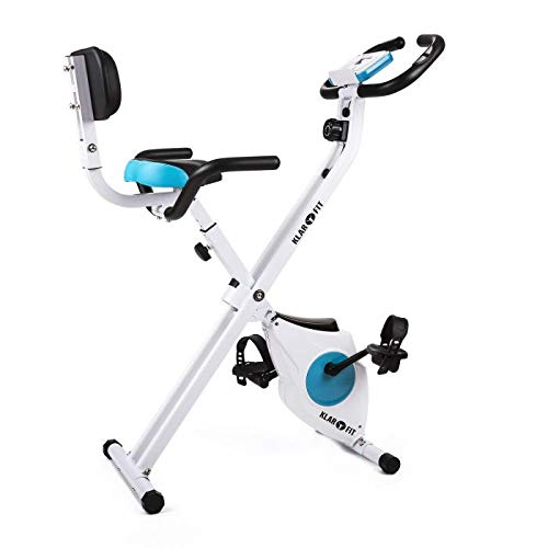 Klarfit Azura - Bicicleta Fija, Bici estática, Ordenador de entrenamiento, Medidor de pulso, 8 niveles de resistencia, Volante de inercia 3 kg, Máx. 100 kg, Respaldo, Reposabrazos, Blanco