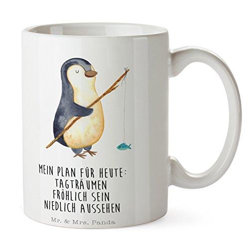 Mr. & Mrs. Panda Frühstück, Kaffeebecher, Tasse Pinguin Angeler mit Spruch - Farbe Weiß