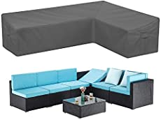 STARTWO Patio Sectional Sofa Cover, Heavy Duty Waterproof Outdoor Sectional Furniture Cover Weatherproof L-Shaped Lawn Patio Furniture Cover with Air Vents Windproof Straps (Right Facing-Gray)