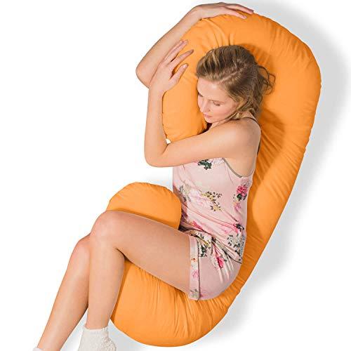 Traumreiter Seitenschläferkissen mit Bezug orange I Schmousi Schwangerschaftskissen Lagerungskissen Seitenschläfer Kissen Schwangerschaft Stillkissen