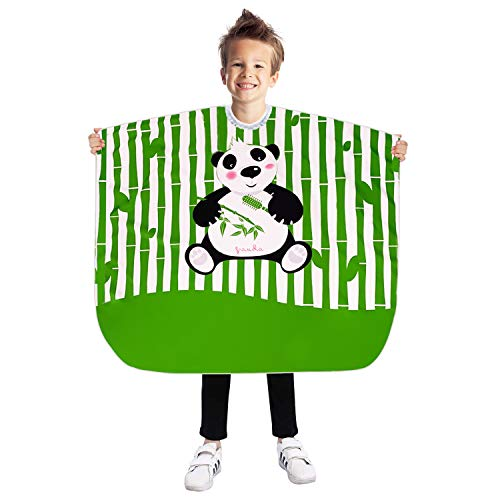Noverlife Kids Haircut Barber Cape with Cute Panda Image, Large 51 x 35' /130 x 90cm Children Styling Apron, Child Hairdressing Salon Cape Cute Children Hair Cloth, Makeup Comb Out Cape for Adults