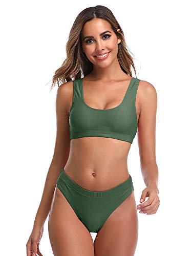 Summer Mae Damen Bikini Set Bustier Oberteil Zweiteile Sportliche Bademode Grün XXL