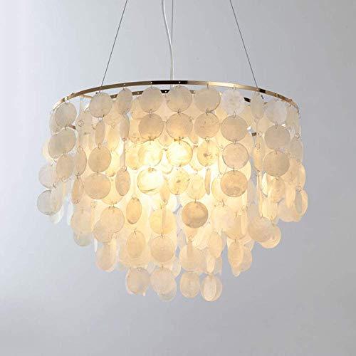 Giow Moderne Kreativität Pendelleuchte 3-Lichter Runde Pendelleuchte Gold Eisen und natürliche weiße Muschel Kronleuchter für Schlafzimmer Wohnzimmer Esszimmer Restaurant Küche