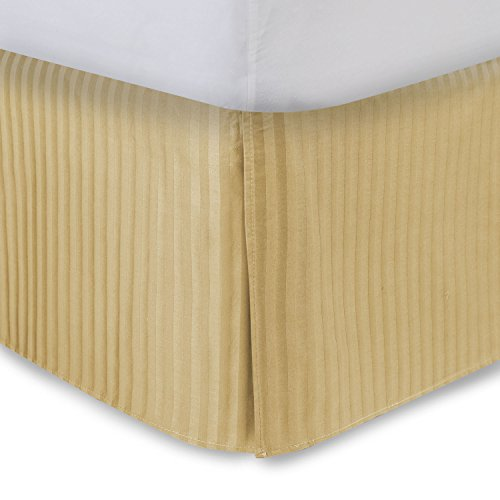 Gold Bed Skirt Queen Bed Skirt 21 Inch Drop, Tailored/Pleated Striped Bedskirt, Dust Ruffle with Split Corners and Platform, Solid Poly/Cotton 300TC Fabric