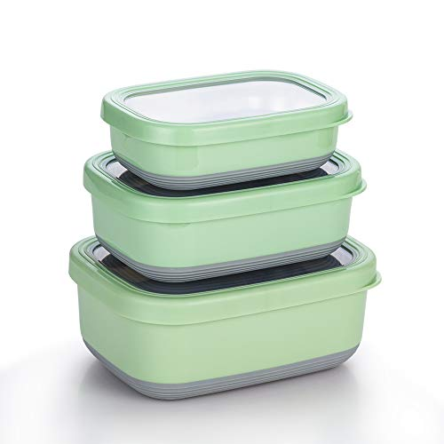 Lille Home Premium Stainless Steel Food Containers/Bento Lunch Box With Anti-Slip Exterior, Set of 3, 470ML, 900ML,1.4L, Leakproof, BPA Free, Portion Control, Green