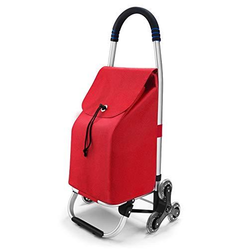 Wenore Zusammenklappbarer Einkaufswagen, ultraleichter Aluminiumlegierungs-Einkaufswagen mit Rad -50kg Tragfähigkeit, wasserdichter Push-fold-Multifunktions-Trolley