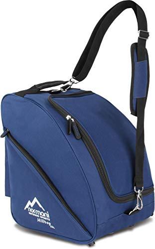normani Skischuhtasche - Tasche für Skistiefel, 3 Equipmentseitentaschen und mit integriertem Adressfeld und gepolstertem Schultergurt Farbe Navy