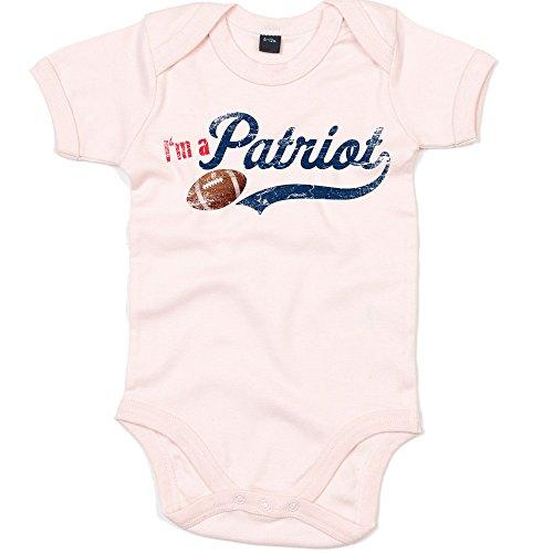 I'm a Patriot #1 Baby-Strampler American Football Bodysuit Pats Super Bowl Babybody Oeko-TEX, Farbe:Babyrosa (Powder Pink BZ10);Größe:0-3 Monate