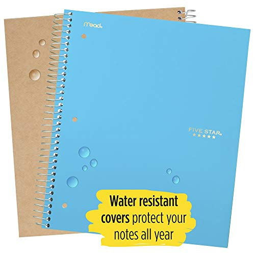 """Five Star Spiral Notebooks, 5 Subject, College Ruled Paper, 200 Sheets, 11"""" x 8-1/2"""", Teal, Yellow, 2 Pack (73509) Photo #3"""