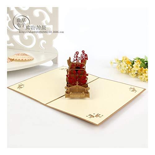 ZHOUBIN 2 Blätter/Set Schnitzen und 3D Karten/Grußkarten/Weihnachten Neujahr Geschenke/Geburtstagswünsche/romantische Hochzeitsautos aushöhlen