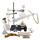 22 Pcs New 150ml Lab Essential Oil Distiller Water Purifier Distiller Glass Tools Kits w / Condenser Tube Piston Full Set (Snake Condenser + Separation Funnel)