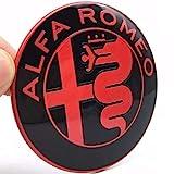 2 Fregi Stemma Alfa Romeo Nero e Rosso Logo 74mm Cofano Anteriore Posteriore Emblema Red and Black 147 156 159 Brera Mito METALLO