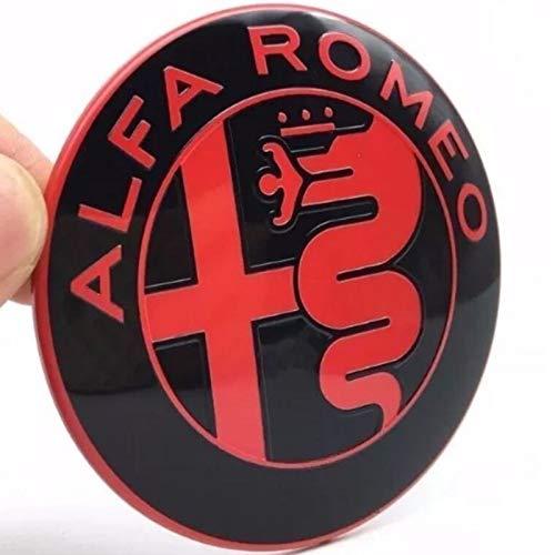 2 Emblemas escudo Alfa Romeo negro y rojo logotipo 74 mm capó delantero trasero emblema rojo y negro 147 156 159 Brera Mito metal