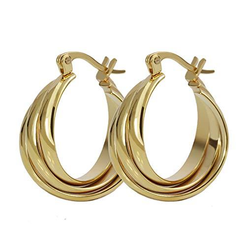 Stud Earrings Drop Dangle Stainless Steel Three Ring Earrings Jewelry Gifts for Men Women Girls Boys (Gold)