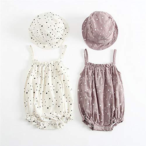 HFDJTAFS Rétro bébé filles vêtements d'été Sunsuit Star Print princesse barboteuses + chapeau de soleil ensemble court bébé tenue filles vêtements de combinaison
