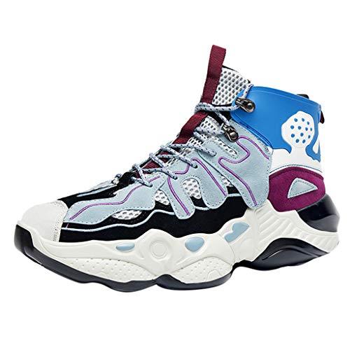 Masoness 🌻🌻 Männer Alte Schuhe Paare High-Top Fly Woven Sneakers Plus Velvet Soft Bottom Schuhe,Herren Sneaker Freizeitschuhe Schnürschuhe
