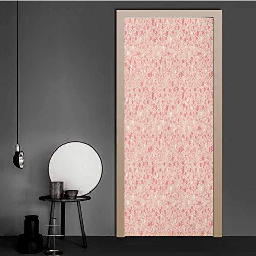 Homesonne - Carta da parati per porta con Sakura e nuvole, disegno a mano, motivo albero di primavera, facile da applicare, rosa cacao celeste, PVC, Multi - 06, K81.3xG203.2 cm