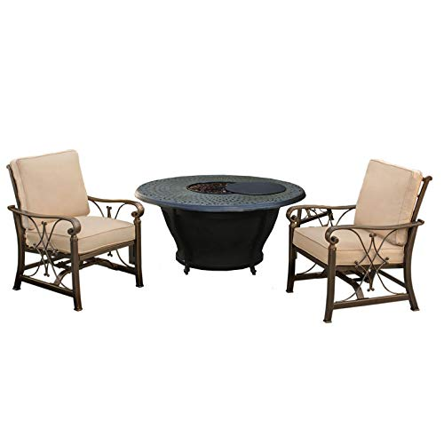 Buy Bargain CC Outdoor Living 3-Piece Round Cast Aluminum Gas Fire Pit Set w/Cream Patio Rocking Cha...