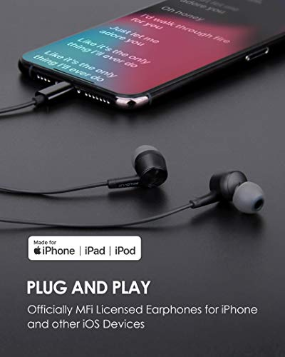 PALOVUE Lightning Headphones Earphones Earbuds Compatible iPhone 12 11 Pro Max iPhone X XS Max XR iPhone 8 Plus iPhone 7 Plus MFi Certified with Microphone Controller SweetFlow (Black)