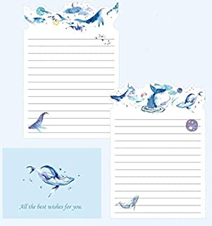 9 Pcs/set Cute 3 Envelopes + 6 Letter Papers Whale Cat Planet Flowers Envelope Letter Set Writing Paper Gift Stationery (C...